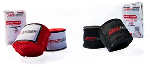 ActiveVikings Boxbandagen 4m mit Klettverschluss Ideal für jede Kampfsportart   Boxen Kickboxen Jiu Jitsu Muay-Thai MMA (Rot) (Muay Jitsu Jiu Thai)