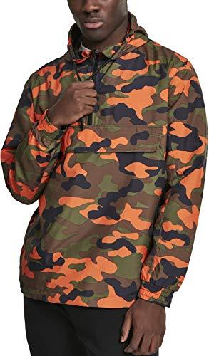 Urban Classics Herren Camo Pull Over Windbreaker Jacke, Neonorange, XL Orange Camouflage
