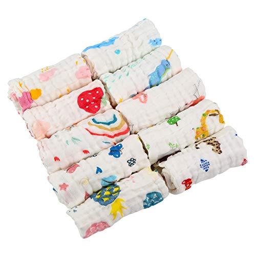 LEADSTAR Babywaschlappen, 10pcs Baby Badetuch Musselin Waschlappen Baby Feuchttücher Baumwolle Handtuch Weiche Handtuch für Neugeborenes Baby Kinder, 30 * 30 CM (Neugeborenes Baby Waschlappen)