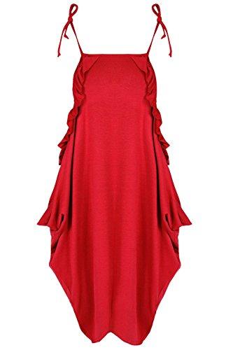 Be Jealous Damen Lagenlook Schicht Italienische Drape Frauen Riemen Peplum Krause Ausgebeult Midi Kleid (Drape Cami)