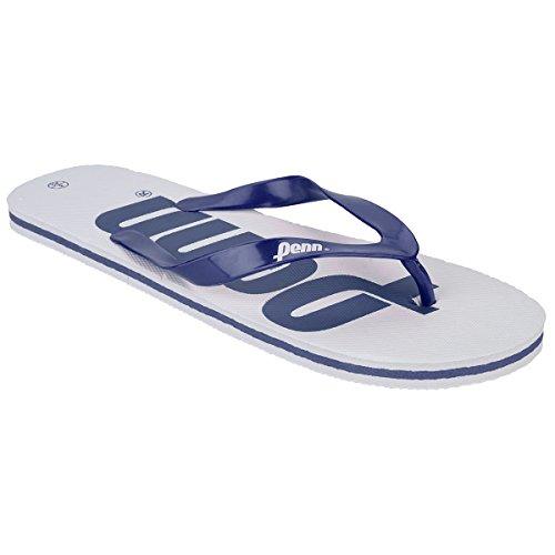 Herren Zehentrenner Penn Logo Text Reinschlüpfen Sommer Strand Flip-Flops Weiß/Marine Blau