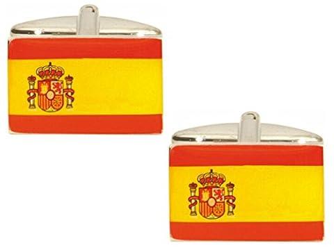 Spanische Flagge Manschettenknöpfe. Hochwertige Manschettenknöpfe aus der Dalaco Flag Collection. Luxus-Manschettenknöpfe aus dem unübertroffenen Dalaco-Sortiment mit hochwertiger Präsentationsbox und Stift. Hergestellt in England.