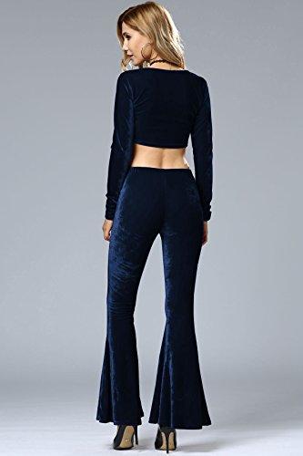 Minetom Donne Pantaloni Casual Plus Size Elefante Elasticizzati Vita Alta Cool Allentato Pants Lunghi Trousers Zampa Mutanda Larghi Navy