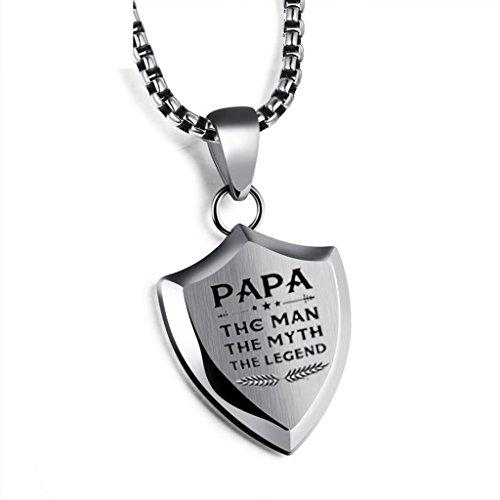 Gkmamrg Vatertagsgeschenk Herren Schild Anhänger mit Gravur Papa The Man The Myth The Legend Halskette mit Geschenkbox für Dad Vater Papa Geschenk