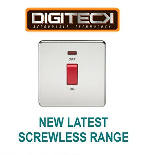 ML231 - 45 A 1 fach DP SWITCH mit der neusten schraubenfreies Kontrollleuchte poliertes Chromfinish zur Verwendung mit Geräten Kochen -