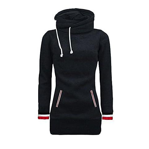 Bluestercool Sweat-shirt à Manches Longues Femme Décontractée Col Roulé Pull-over Tops (M, Noir)
