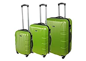 P-Collection Kofferset Hartschale 3-teilig Koffer Trolley Handgepäck Reisekoffer Hartschalenkoffer M - L - XL-3er Set 5 Farben (3er Set, grün)