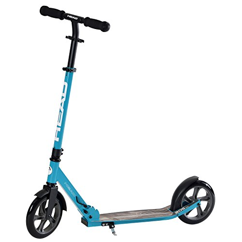 HEAD - Aluminium Scooter inkl. Hinterradbremse I Kickscooter I klappbar I Big Wheel Scooter I Tretroller I Cityroller I höhenverstellbar I Kinder- & Erwachsenen-Scooter I inkl. Ständer - Hellblau