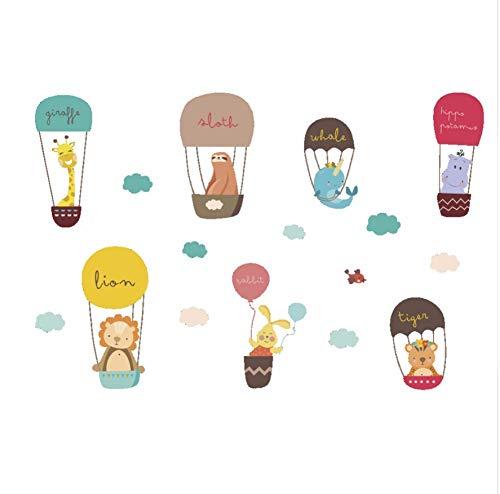 Heißluftballon Cartoon Tiere Fallschirm Kinderzimmer Badezimmer Giraffe Lion Decals Wasserdichte Wandbild Dekorative Wandaufkleber