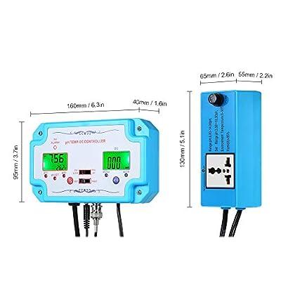 Fesjoy Wassertester, 3 in 1 pH/EC/TEMP Wasserqualität Tester pH-Controller mit Relaisstecker Nachfüllbare Elektrode BNC Sonde Wasserqualitätsprüfgerät für Aquarium Hydroponics Tankmonitor