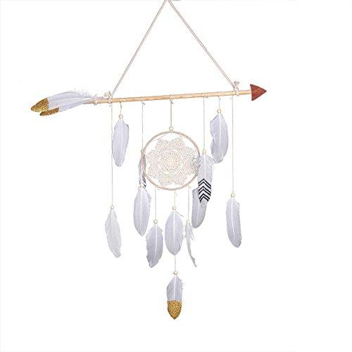 tomobile Dream Catchers Handmade Feather Native American Dreamcatcher Cupid's Arrow con luz para el Coche Niños Habitación Colgante de Pared Decoración de Boda Ornamento Artesanía