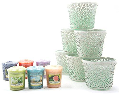 6x Offizielles Yankee Candle Entspannung Mint grünen Punkt Mosaik Glas Votiv Kerzenhalter + 6Verschiedene Votivkerzen