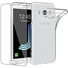Funda Samsung Galaxy J5 2016 + Protector Pantalla Vidrio Templado, EasyBee Transparente Silicona TPU Fundas Para Samsung J5 2016 Carcasa 360 Grados Full Body Case Funda (5,2 Pulgadas SM-J510FN)