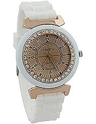 Reloj - Geneva Silicona Piedra de Cristal Cuarzo Reloj de pulsera de mujer (Blanco)