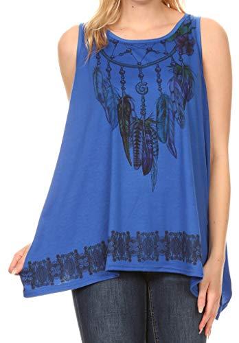 Sakkas 17303 - Juliana Damen Sommer Ärmelloses Tank Top Printed Dashiki Jersey Knit - 17304-blau - OS - Scoop Neck Knit Kleid