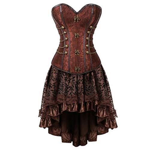 XMDNYE Plus größe 6 XLsteampunk Korsett Bustier Brokat sexy Gothic Punk schnallen Leder Korsetts Kleid mit Rock Burlesque Pirate kostüm