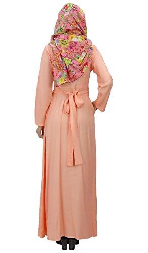Bimba vêtements abayas plein manches islamic des maxi robe jilbab avec hijab Pêche