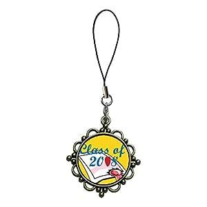 Giftjewelryshop bronzo antico stile retrò classe di 2008diploma Graduation photo Flower tracolla catenella, ciondolo fascino del telefono cellulare