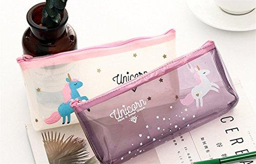 Abenily Efectos de escritorio de la caja de lápiz Patrón de unicornio transparente Estuche de lápices Estuche de lápices Estuche de lápices (Púrpura)
