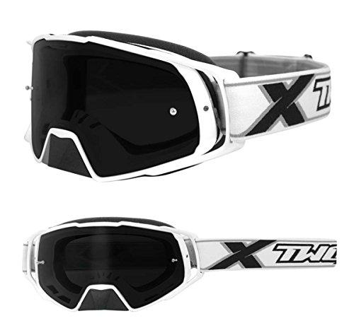 TWO-X Rocket Crossbrille Weiss Glas getönt grau MX Brille Nasenschutz Motocross Enduro Motorradbrille Anti Scratch MX Schutzbrille Nose Guard