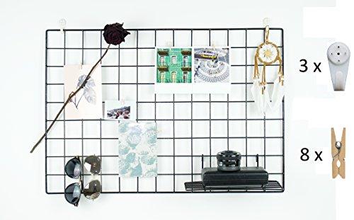 Design Wandgitter aus Metall mit Haken| Foto Eisen Gitter Pinnwand Raster für Dekoration | Memo Moodboard Fotowand | Gridpanel | Wand Organizer | DIY Multifunktions-Grid Deko | Fotogitter Draht | Gitterwand schwarz | 65x45cm (Wand-schreibtisch)