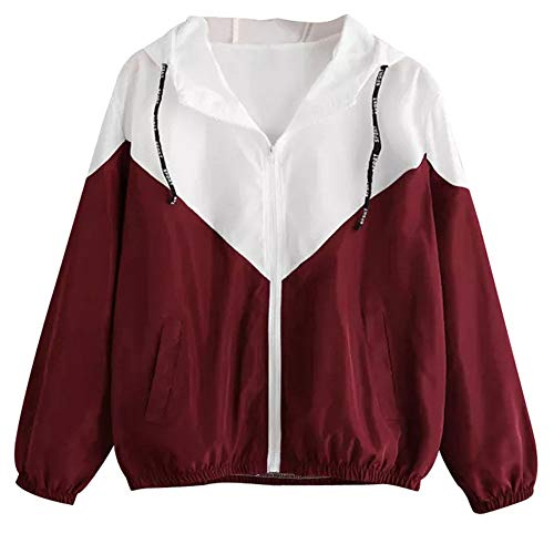 CUTUDE Jacke Damen, Herbst Winter Gestreift Patchwork Coat Dünn Reißverschluss Mantel Taschen Sport Jacken Mit Kapuze (Rote, L)