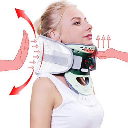 DONGBALA Aufblasbare zervikale Zugvorrichtung, Schutz-Hals Zwei-Wege-Korrektur mit aufblasbarer Pumpe zur Linderung von Nackenschmerzen