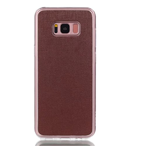Cross Lines Texture Dreifach Typ PU Leder Brieftasche Case mit freistehenden TPU Back Cover Card Slots für Samsung Galaxy S8 Plus ( Color : Gold ) Brown