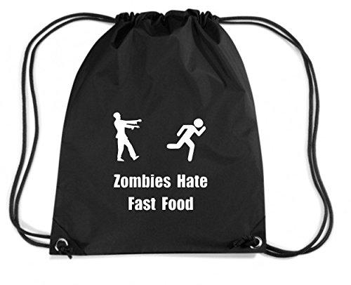 T-Shirtshock - Rucksack Budget Gymsac TZOM0074 zombies hate fast food, Größe Kapazität 11 Liter
