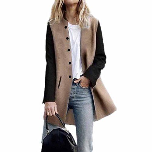 Toamen Cardigan Veste Femmes Long manteau Coutures de couleur contrastée Manche longue Décontractée poids léger (M, Kaki) par  Toamen