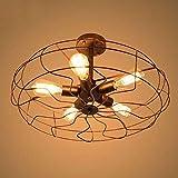 Deckenleuchte Vintage Metall Deckenlampen Retro Deckenleuchte Antik Lampe für Landhaus Schlafzimmer Wohnzimmer, 5x E27 Vintage Edison LED Glühbirne