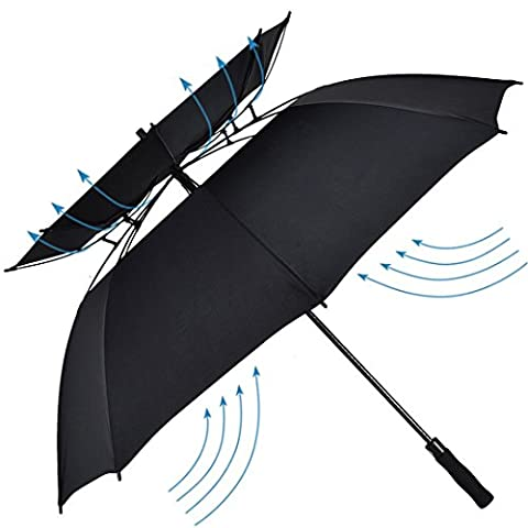 Atree Windproof Double Canopy Construction Umbrella - Auto Open Waterproof Durable and Strong Enough - Vented 8 Ribs with Carrying Bag