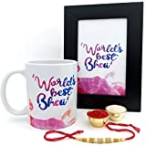Hot Muggs Rakhi Gift - Worlds Best Bhai Ceramic Mug, Rakhi and Photo Frame