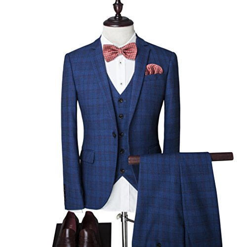 Vestito da uomo 3 pezzi, giacca a bottone, motivo: fantasia scozzese, per matrimonio, feste, eventi Picture Color 2