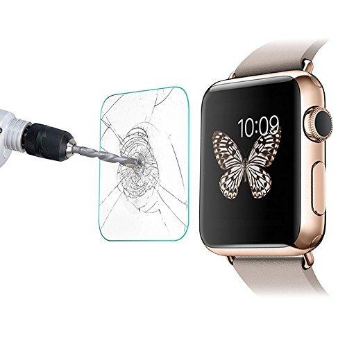[2-Unidades] Apple Watch 38mm Protector de Pantalla,Electro-Weideworld Cristal Vidrio Templado Premium [9H Dureza][3D Touch][Alta Definicion] Anti-Explosion/HD-display/Anti-water,oil and fingerprints.