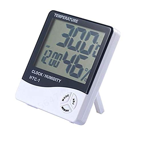 Fiween Elektronische Temperatur-Feuchtigkeits-Messinstrument-Thermometer Hygrometer Wetterstation Wecker Thermometer Digital-LCD
