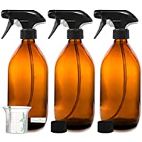 Nomara Organics sin BPA Vaporizador en Botella de Cristal Ámbar 3 x 500 mL. Con Gatillo / Recargable / Belleza Orgánica / Cocina / Limpieza / Mascota