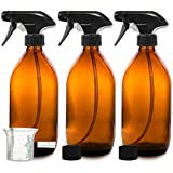 Nomara Organics BPA frei Bernstein Glas Spray Flasche 3 x 500 ml. BPA frei Pumpe/ wiederverwendbar/umweltfreundlich/Küche, Bio Beauty/Reinigungsprodukte