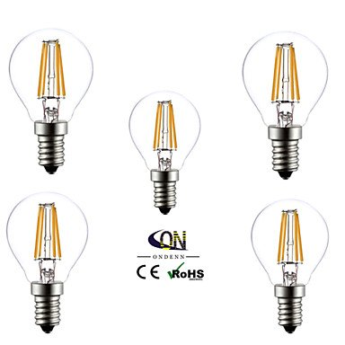 5 piezas ONDENN E14 4 COB 400 LM Blanco Cálido G45 edison Cosecha Bombillas de Filamento LED AC 100-240 V , 220-240v