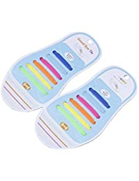 Futurekart No Tie Elastic Silicone Shoelaces Hook Type Shoe Lace for Sneakers Sport All Shoes -12 Shoelaces multicolor(children Anchor Lace)