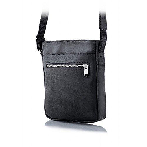 Brodrene In Vera Pelle Da Uomo Con Tracolla Ipad Bag Premium Bl08 Nero