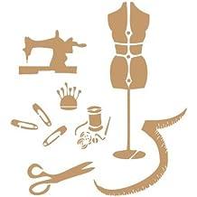 Stencil Deco Vintage Composición 021 Costura y Maniquí. Medidas aproximadas:Tamaño del stencil 20x30(cm) Tamaño de la figura 16.6 x 22.2(cm)