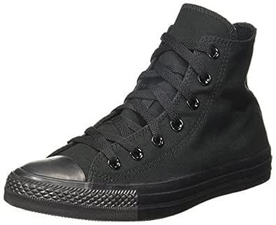 Converse Unisex Mono Black Canvas Sneakers - 3 UK