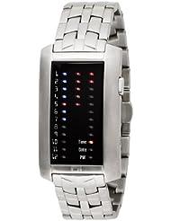 Binary THE ONE IBIZA RIDE IR702RB2 - Reloj digital de caballero de cuarzo con correa de acero inoxidable plateada - sumergible a 30 metros