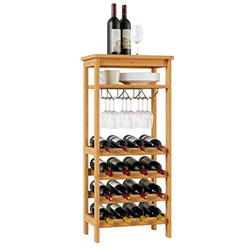 Homfa Bambus Weinregal Flaschenregal mit Gläserhalter für 16 Flaschen und bis zu 9 Gläser 100×47×29cm (H×L×B)