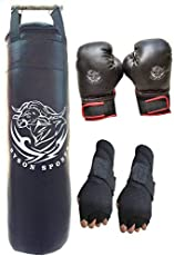 Byson Boxing Kit Set for Adults and Mens (36 inches Synthetic Leather Punching Bag with Boxing Gloves and Hand wrap Gloves Heavy Bag)