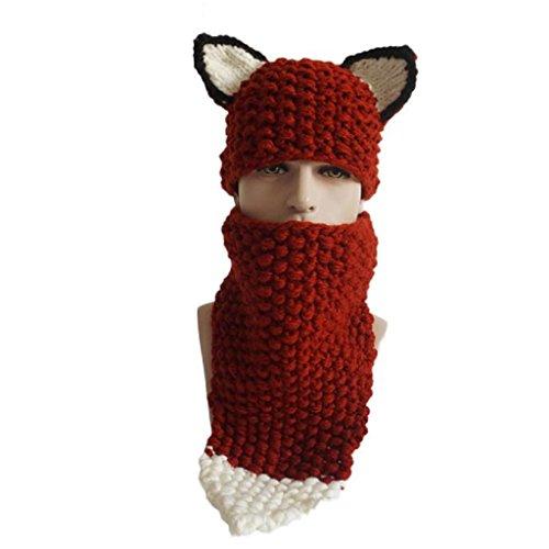 Oyedens inverno lana maglia Fox Cappelli Bambini Ragazze scialli con cappuccio Cowl Beanie Caps