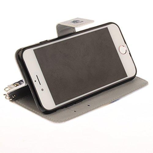 Ooboom® iPhone 8 Plus/iPhone 7 Plus Hülle Flip PU Leder Handy Tasche Case Cover Schutzhülle Wallet Ständer Karte Halter für iPhone 8 Plus/iPhone 7 Plus - Wolf Wolf