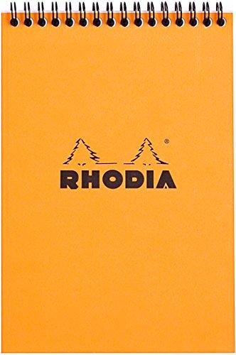 Rhodia - Bloc Spirale 80 Feuilles Détachables - Petits carreaux 5x5 - Format A5 (14.8 x 21 cm) - Orange