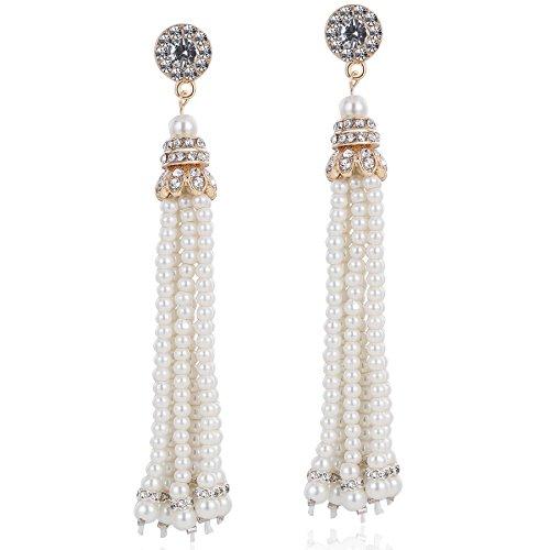 ArtiDeco, orecchini pendenti con perle e cristalli, orecchini da sposa stile vintage, ideali per festa anni '20, il Grande Gatsby e Lega, colore: Rose Gold, cod. Ar-Earring002-RoseGold